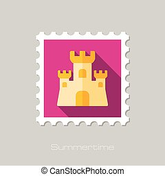 Sand Castle flat stamp with long shadow, eps 10