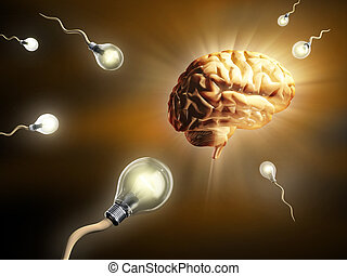 Creative thinking - Light bulbs as sperm cells, as they fly...