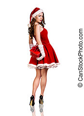 Woman wearing santa clause costume - Beautiful and sexy...
