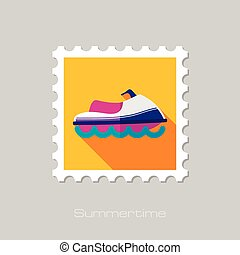 Jet Ski flat stamp with long shadow, eps 10