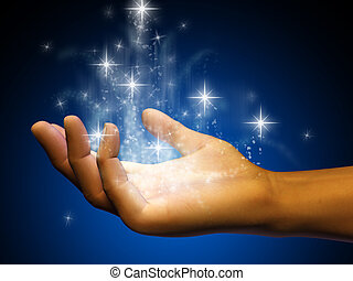 Stardust flowing from an open hand Digital illustration