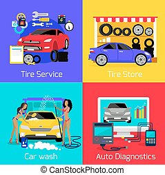 Services Car Washing Diagnostics Tire - Services car washing...