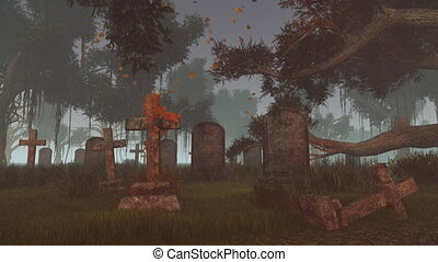 Old graveyard from dusk to night - Old abandoned cemetery in...