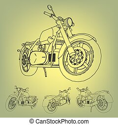 Road bike. Motorcycle in the contour lines. Silhouette of a...