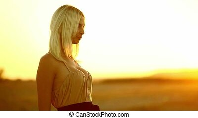 girl young seductive woman smiling at sunset sexy yellow...