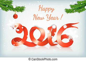 red happy new year ribbon on snowing background