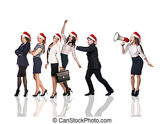 Businesspeople people in a Santa Claus hat