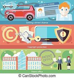 Set Concept Driver License, Patent Copyright - Set concept...