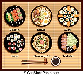 Japanese Cuisine Set Dishes Flat Style - Japanese cuisine...