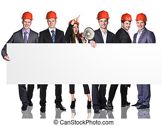 Business people presenting empty banner
