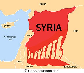 Syria Crisis. Refugee. War Victims - Syria country map...