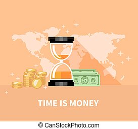 Time is Money Concept. Hourglass Coins