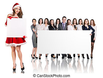 Santa girl and large group of business people holding empty...