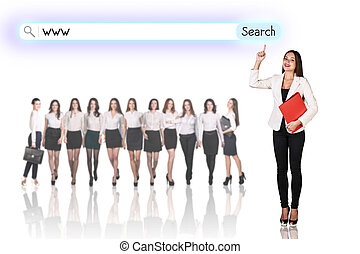 Group of business women with search line on the white...