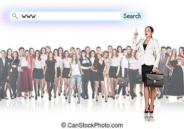 Large group of business people with woman leader. Isolated...
