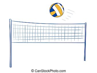 Volleyball net and ball - Volleyball network and the...