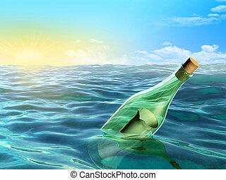 Message in a bottle - A glass bottle floating in the sea...
