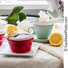eating lemon pudding with red plates, English Tea Party,...
