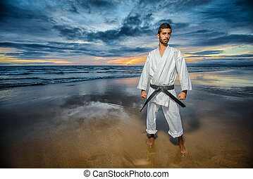 karate master with dramatic sky - karate black belt master...