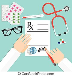 doctor writing notes on a prescription pad - Medical...