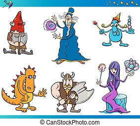 fantasy characters cartoon set