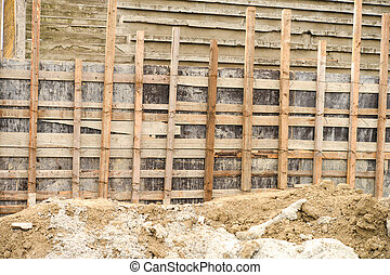 wooden scaffolding for repairing a stadium