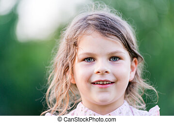 Happy girl excited Young girl smiling very happy surprised...