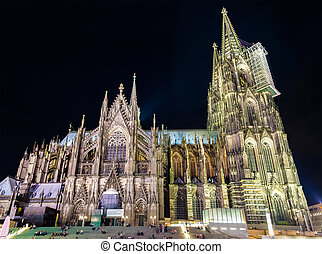 Night view of Cologne Cathedral - Germany, North...