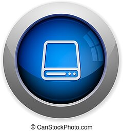 Hard drive button - Blue glossy disk drive web button