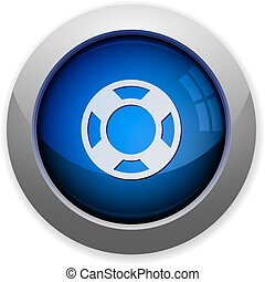 Lifesaver button - Blue glossy lifesaver web button