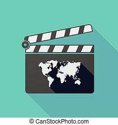 Long shadow clapper board with a world map