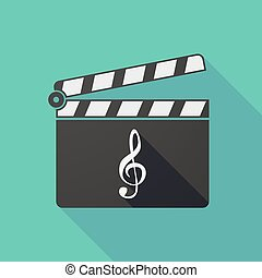 Long shadow clapper board with a g clef - Illustration of a...