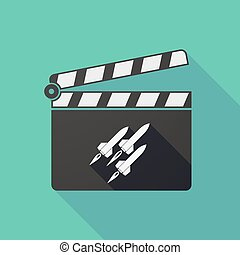 Long shadow clapper board with missiles