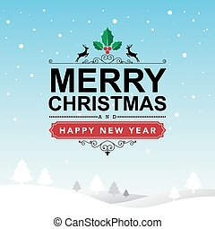 Merry Christmas and Happy New Year typographic...