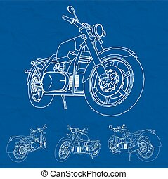 Road bike Motorcycle in the contour lines Silhouette of a...
