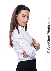 Successful business woman looking confident and smiling over...