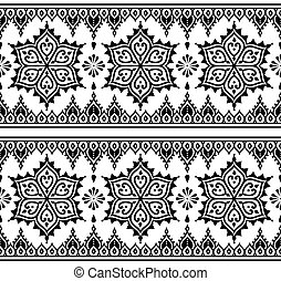 Mehndi, Indian Henna pattern - Vector black ornament -...
