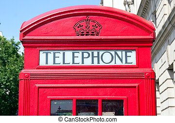UK telephone - Traditional red telephone box in London