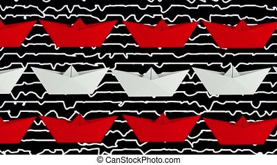 Paper boats in white and red