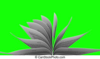Books pages turning in Slow Motion over green screen -...