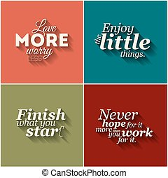 Collection of vector minimalistic typographic motivational quotes