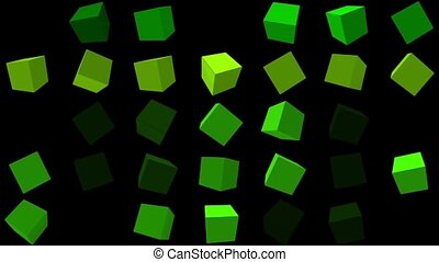Flashing,rotating cubes in green