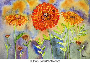 Naive marigold with blue and orange background