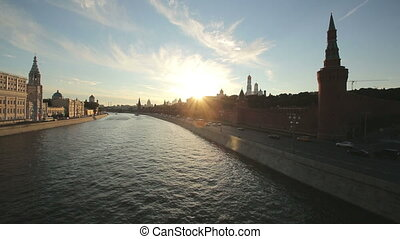 Moscow Kremlin at sunset - timelaps of Moscow Kremlin at...