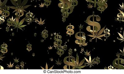 Flying USA dollar signs and cannabis leafs in gold on black
