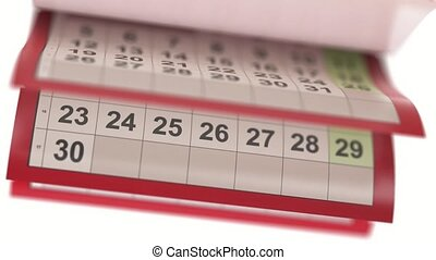 Calendar pages turneng in slow motion