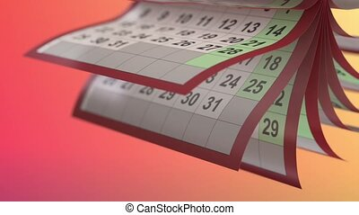 Calendar pages turneng in slow motion - loop ready high...