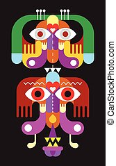 Totem. Colorful vector illustration on black background.