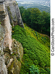 View on a detail of konigstein fortress, locating in rocks...