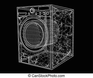 washing machine simbol isolated on black background